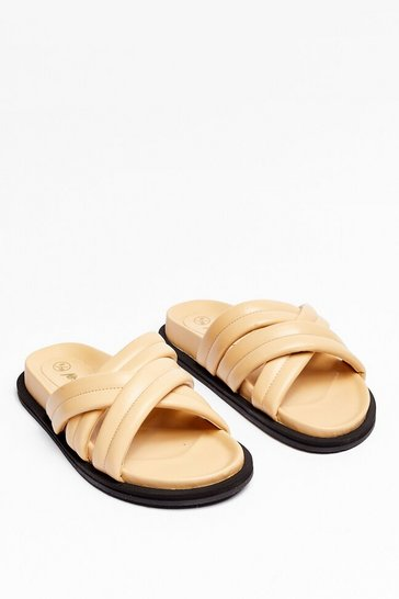 Beige Faux Leather Strappy Sliders