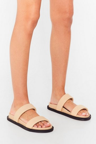 Beige Just Hold On Leather Double Strap Sandals
