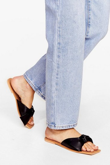 Black Flat Suede Square Toe Mules
