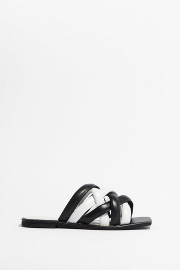 Black You've Woven Well Leather Contrast Sandals