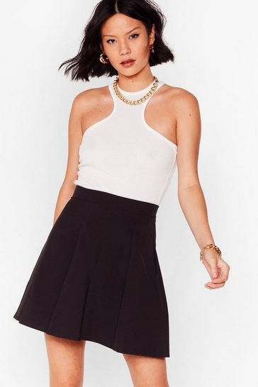 Black Pleated Loose Mini Skirt