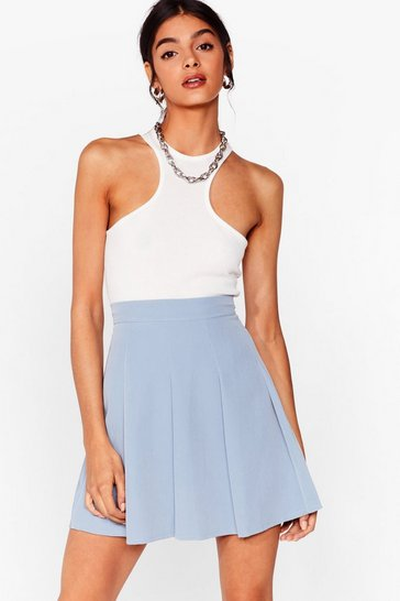 Powder blue Pleated Loose Mini Skirt