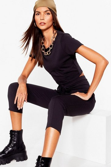 Black Take Its Corset Cropped Tee and Pants Set