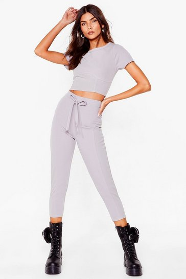Ensemble t-shirt effet corset & pantalon court, Grey