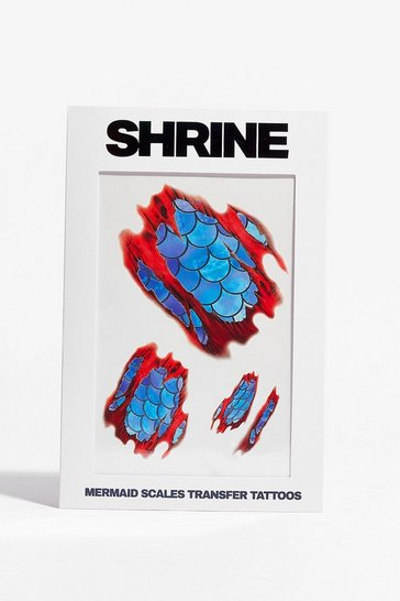 Blue SHRINE Mermaid Scales Temporary Tattoo Set
