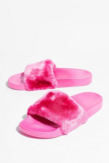 Pink Are You Faux Fur Real Moulded Sliders