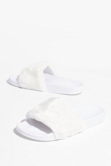 Cream Are You Faux Fur Real Moulded Sliders