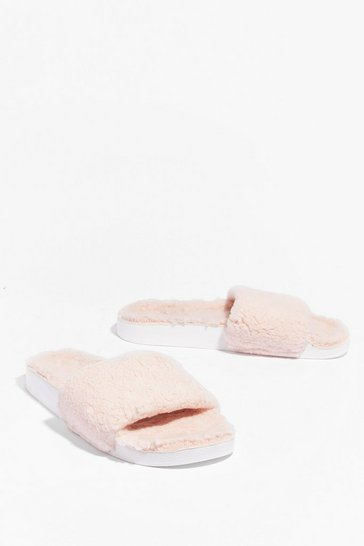 Light pink Teddy or Not Faux Fur Moulded Sliders