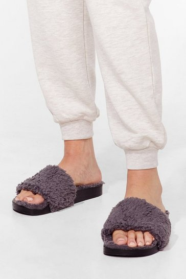 Grey Just Fur You Faux Shearling Sliders