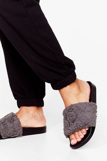 Grey Foot in Mouth Moment Faux Fur Sliders