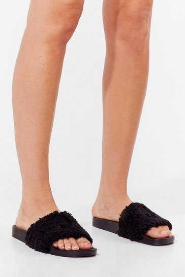 Black Whenever You're Teddy Faux Fur Sliders