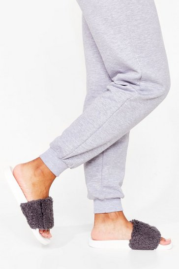 Grey Faux Fur Way Out Sliders