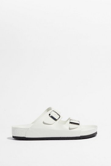 Cream Mines a Double Buckle Faux Leather Sandals