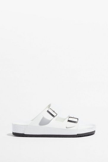 White On Your Slide Buckle Footbed Sandals