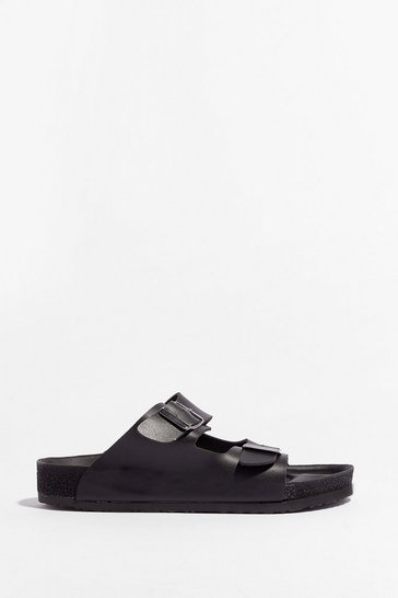 Black DOUBLE BUCKLE SANDAL