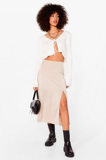 Almond Slit Satin High Waisted Midi Skirt