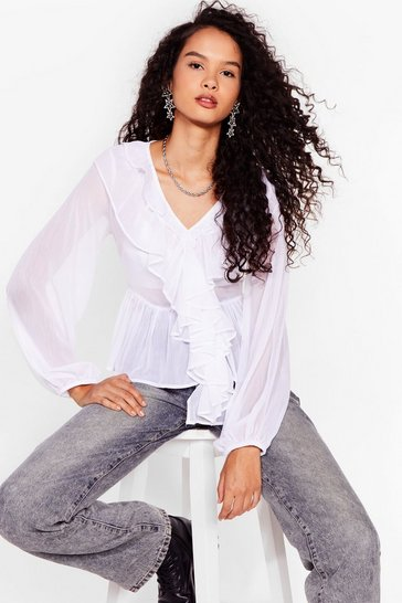 White Frill Power Chiffon Relaxed Blouse