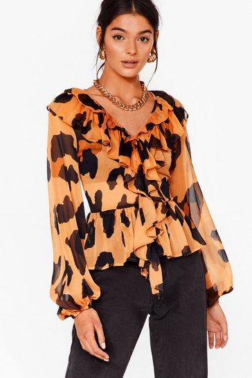 Brown Leopard It Before Chiffon Ruffle Blouse