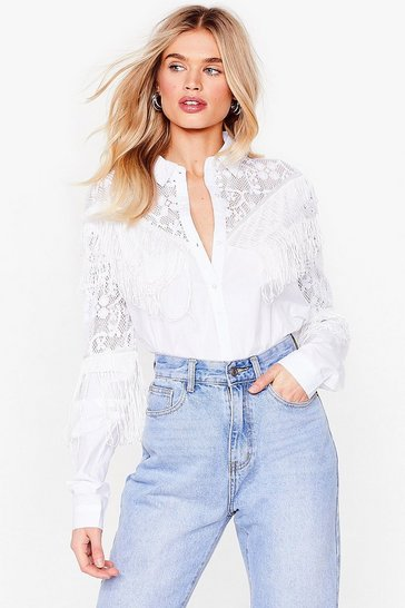 White Ain't Our First Rodeo Lace Tassle Shirt