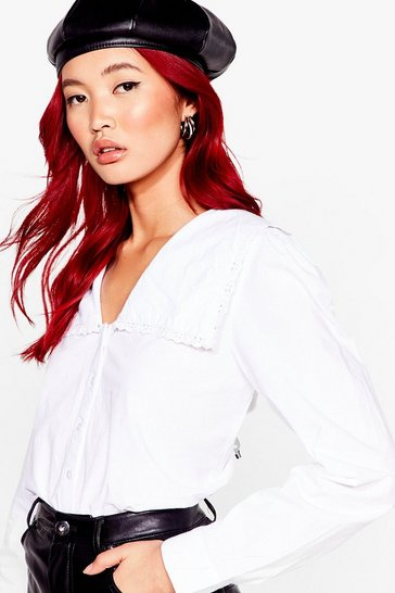 White Edge Your Bets Broderie Puff Sleeve Blouse