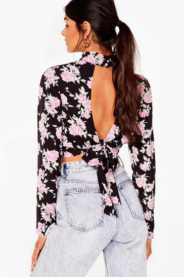 Black High Neck Rose Print Ruched Blouse
