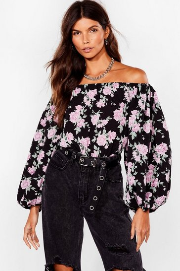 Black Grow Our Worth Floral Off-the-Shoulder Blouse