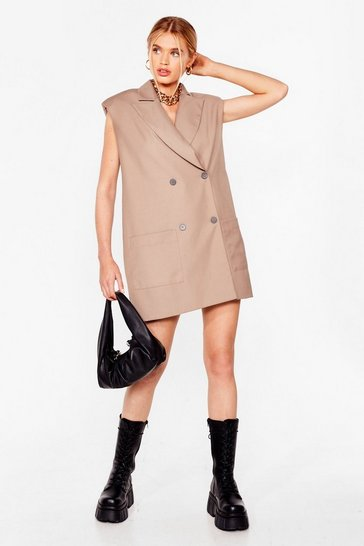 Beige Take It or Sleeve It Sleeveless Blazer Dress