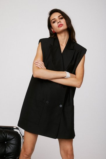 Black Take It or Sleeve It Sleeveless Blazer Dress