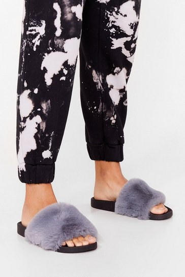 Blue Teddy When You Are Faux Fur Sliders