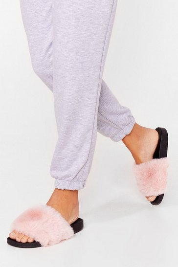 Pink Teddy When You Are Faux Fur Sliders