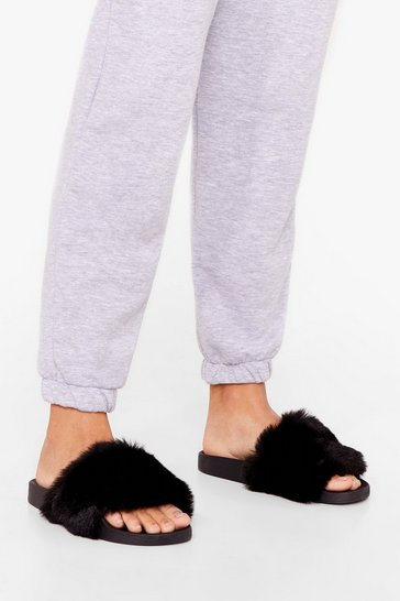 Black Teddy When You Are Faux Fur Sliders