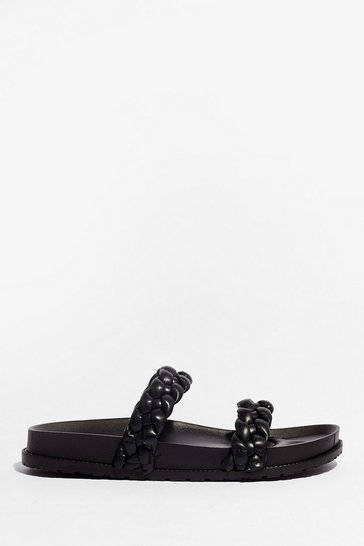 Black World At Your Feet Faux Leather Braided Sandals