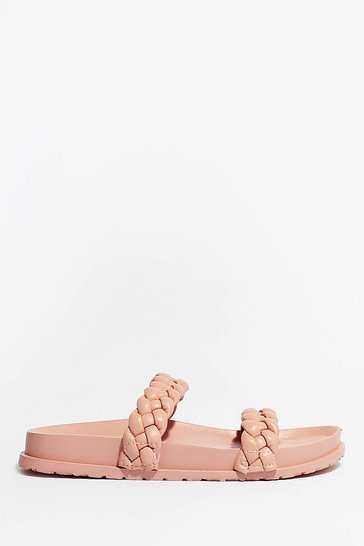 Pink World At Your Feet Faux Leather Braided Sandals