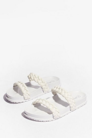 White Faux Leather Braided Strap Sandals
