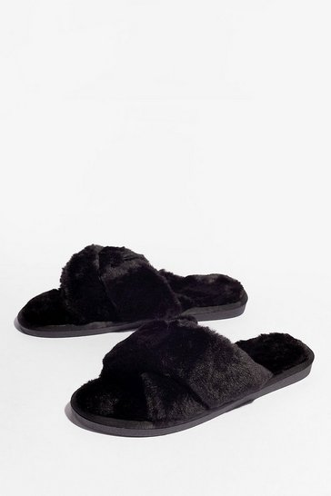 Black Not Ready Faux Fur Today Slippers