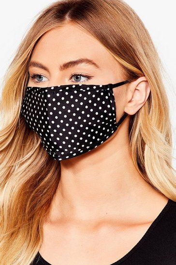 Black Game Face Spotty Fashion Face Mask