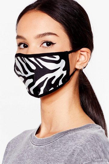Black Zebra Print Face Mask
