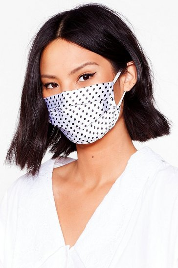 White Satin Polka Dot Face Mask