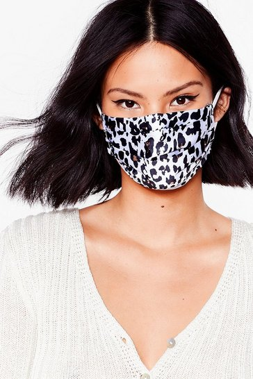 White Say No Roar Leopard Fashion Face Mask