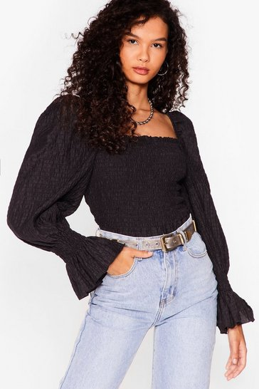 Black Gathered Your Thoughts Square Neck Blouse