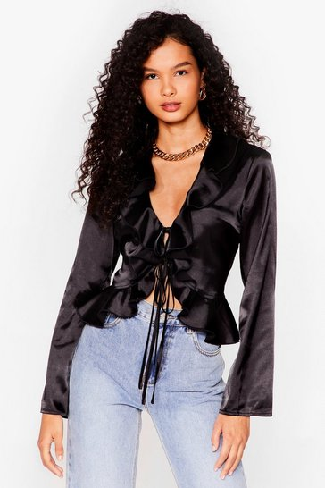Black Frill We Work It Out Satin Tie Blouse