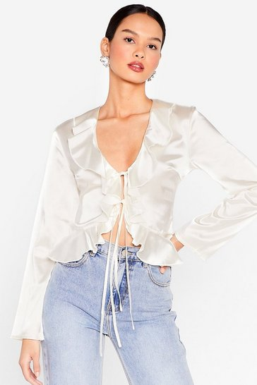 Cream Frill We Work It Out Satin Tie Blouse