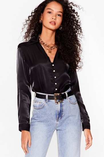 Black Let It Satin Pearl-Inspired Button-Down Shirt