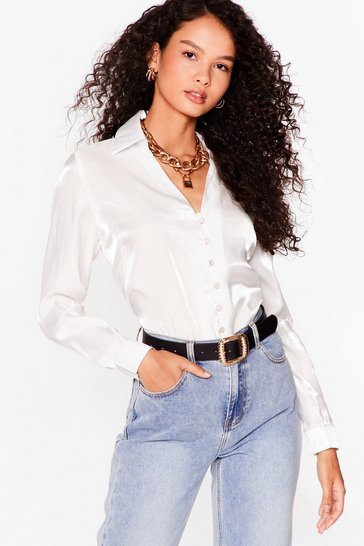White Let It Satin Pearl-Inspired Button-Down Shirt