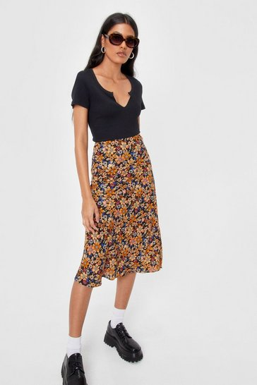 Black Relaxed High Waisted Floral Midi Skirt