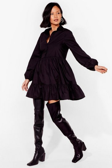 Black Smock It and See Mini Shirt Dress