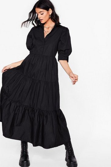 Black Smock What You're Doing Maxi Shirt Dress
