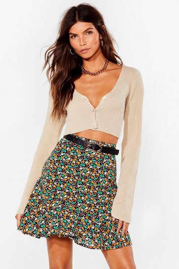 Black Pressed for Time Floral Mini Skirt