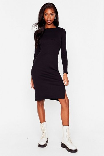 Black You'll Never Seam Me Again Ribbed Midi Dress