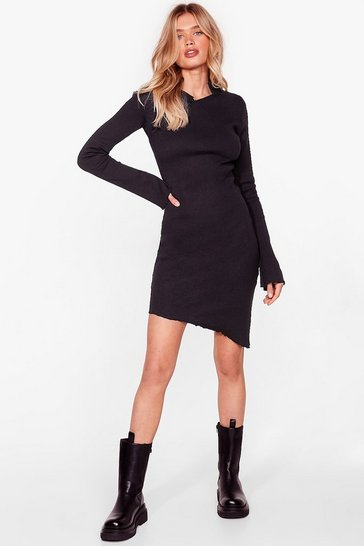 Black Slant Always Get Your Way Asymmetric Mini Dress